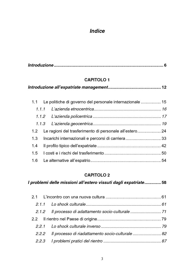 Indice della tesi: Una fase critica dell'expatriate management: il rientro, Pagina 1