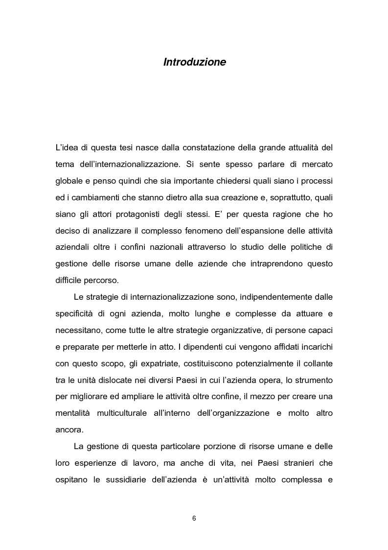 Anteprima della tesi: Una fase critica dell'expatriate management: il rientro, Pagina 1