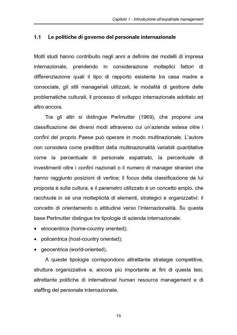Anteprima della tesi: Una fase critica dell'expatriate management: il rientro, Pagina 10