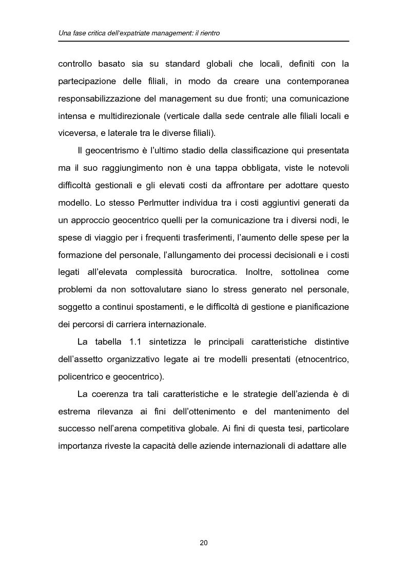 Anteprima della tesi: Una fase critica dell'expatriate management: il rientro, Pagina 15