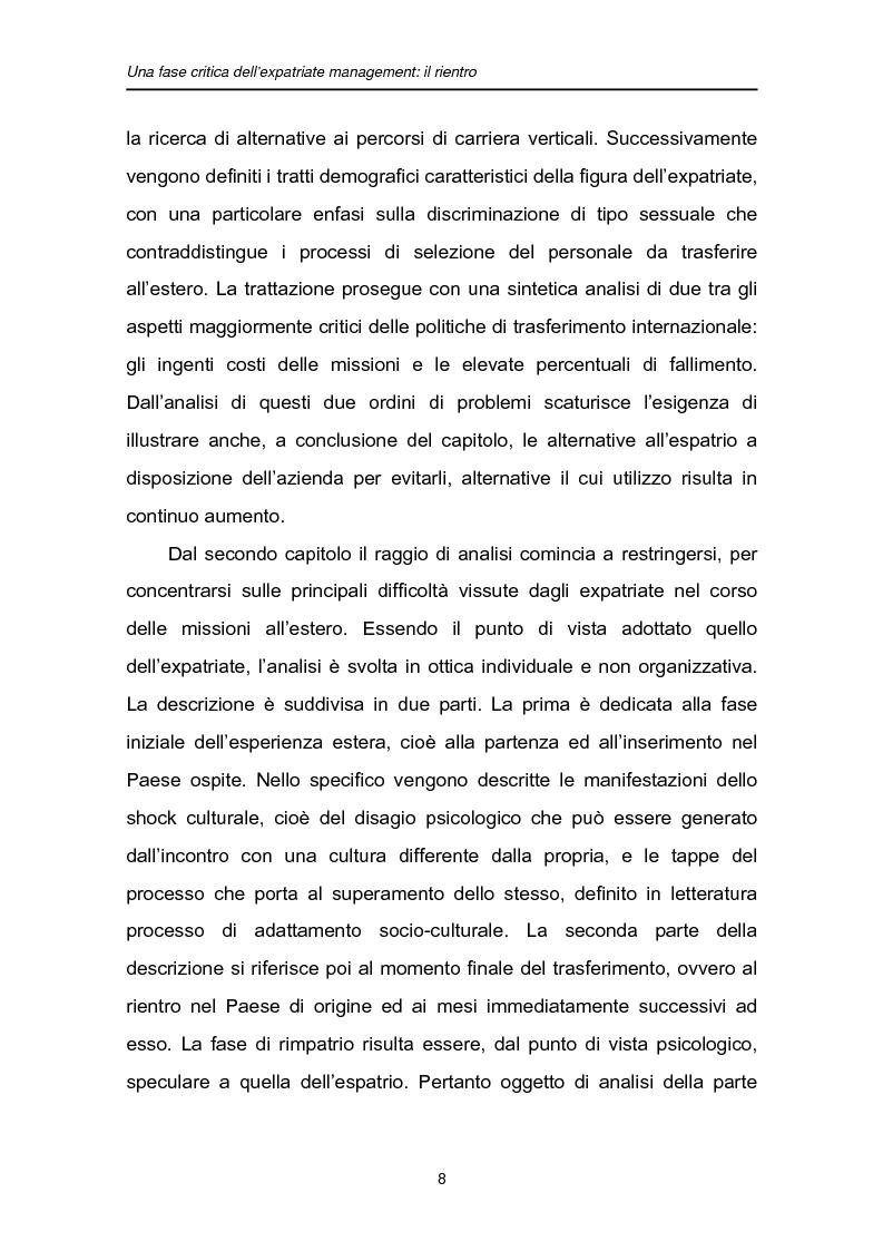 Anteprima della tesi: Una fase critica dell'expatriate management: il rientro, Pagina 3