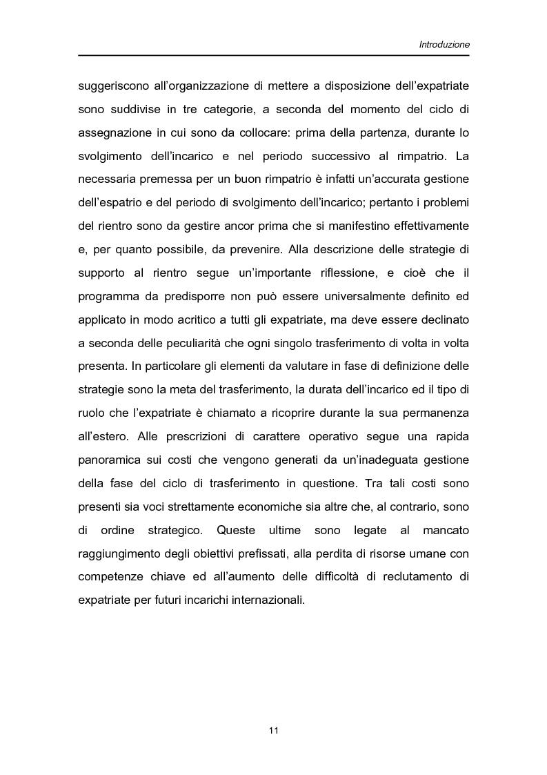 Anteprima della tesi: Una fase critica dell'expatriate management: il rientro, Pagina 6