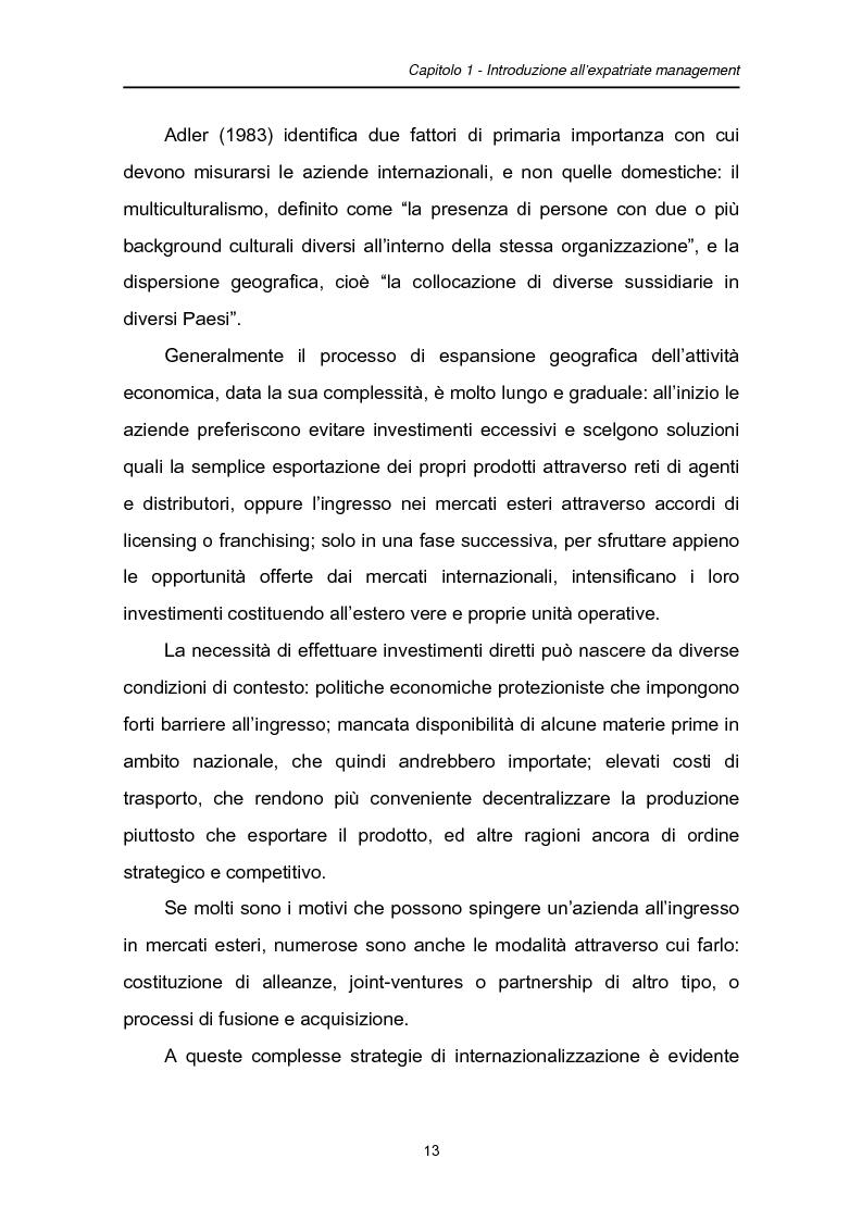 Anteprima della tesi: Una fase critica dell'expatriate management: il rientro, Pagina 8