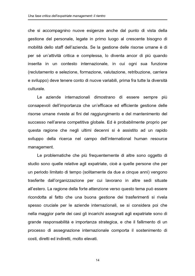 Anteprima della tesi: Una fase critica dell'expatriate management: il rientro, Pagina 9