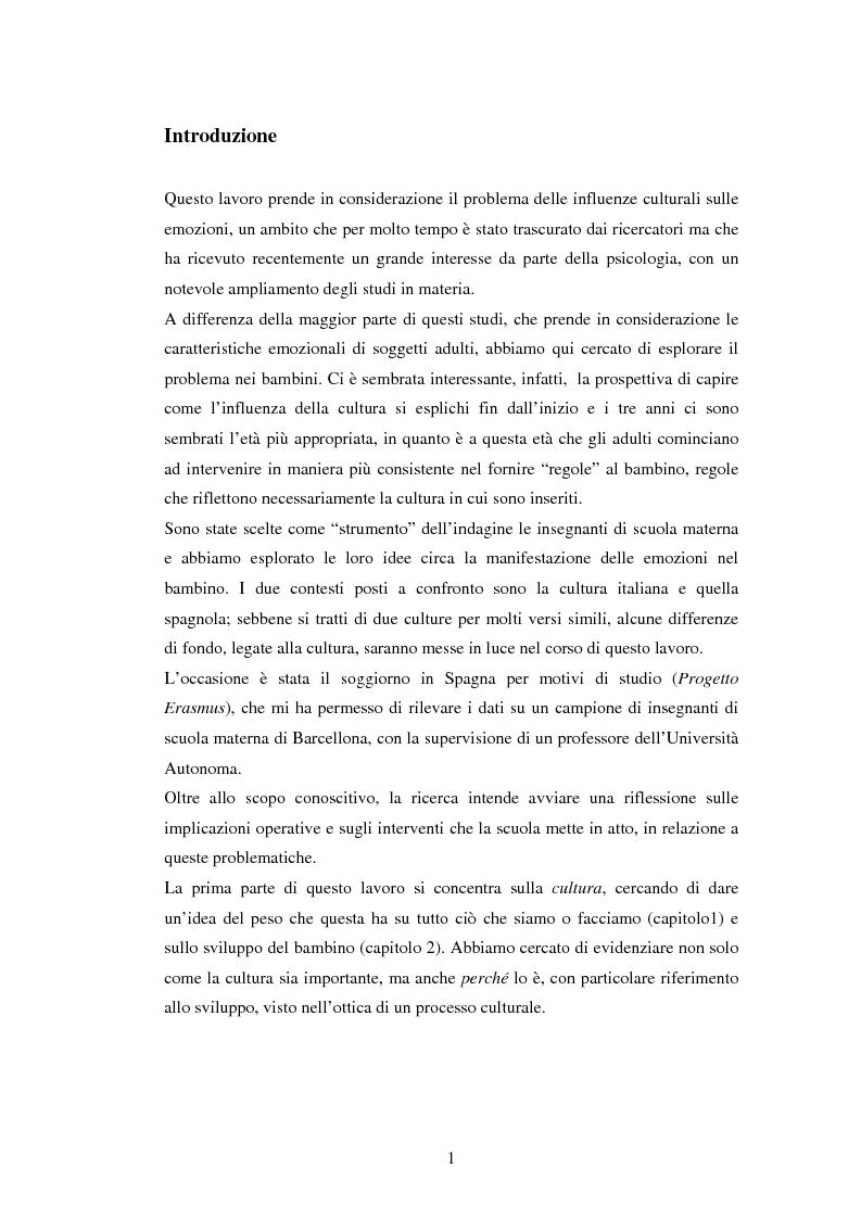 Anteprima della tesi: Emozioni e cultura nelle idee di insegnanti di scuola materna italiane e spagnole, Pagina 1