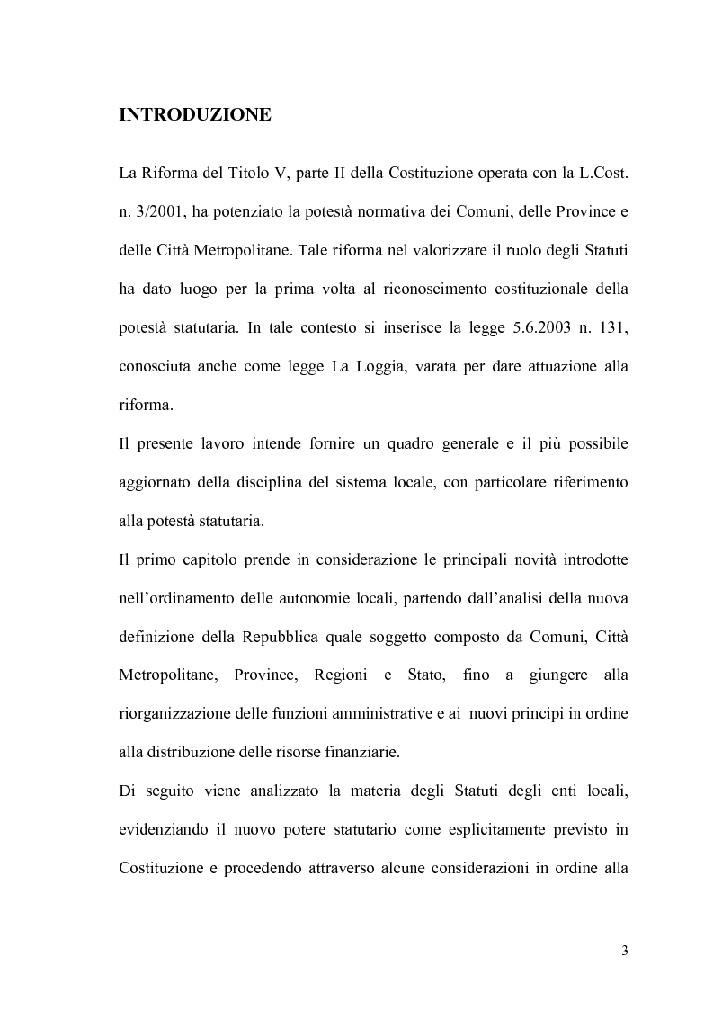 Anteprima della tesi: Il potere statutario degli enti locali alla luce delle novità introdotte dalla riforma del Titolo V della Costituzione., Pagina 1