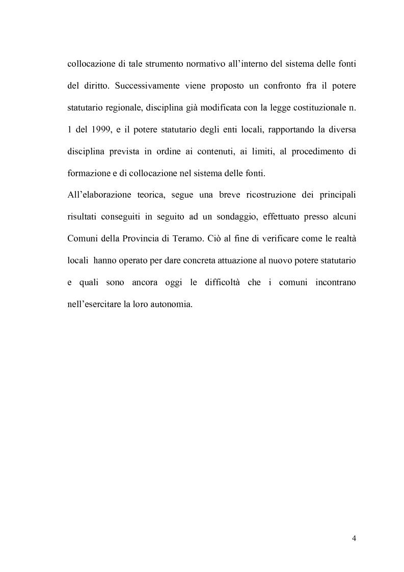 Anteprima della tesi: Il potere statutario degli enti locali alla luce delle novità introdotte dalla riforma del Titolo V della Costituzione., Pagina 2