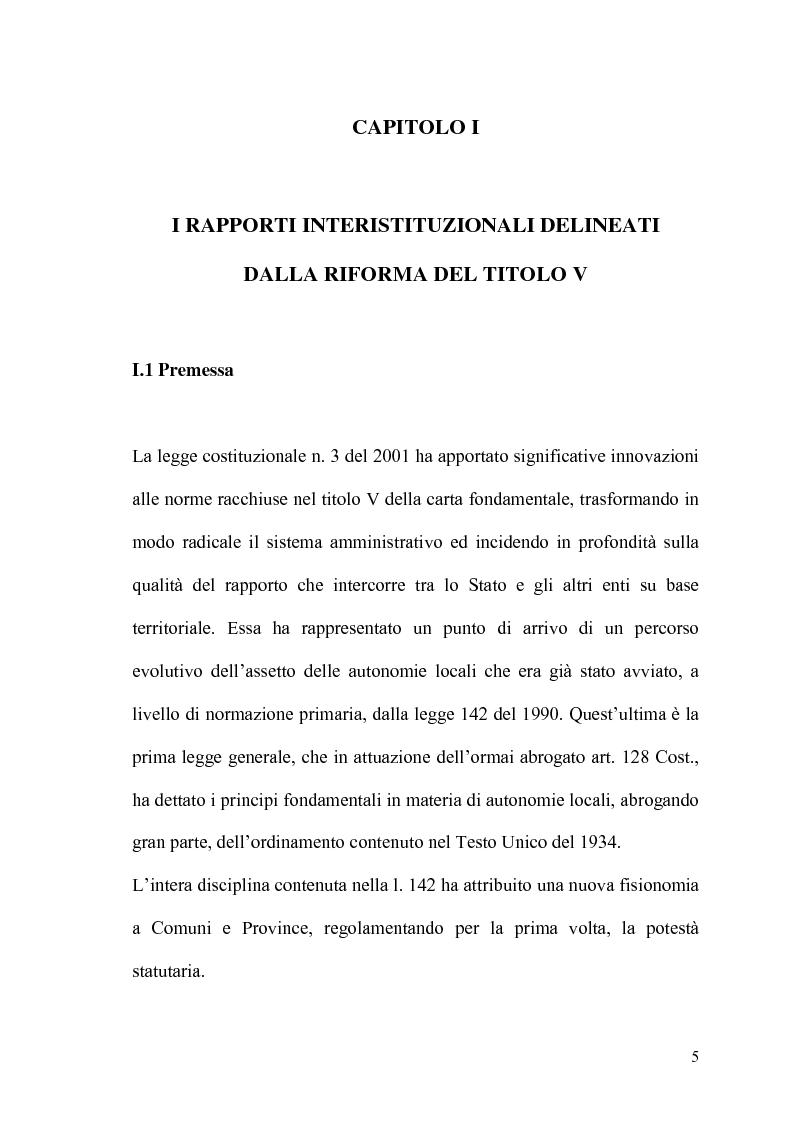 Anteprima della tesi: Il potere statutario degli enti locali alla luce delle novità introdotte dalla riforma del Titolo V della Costituzione., Pagina 3