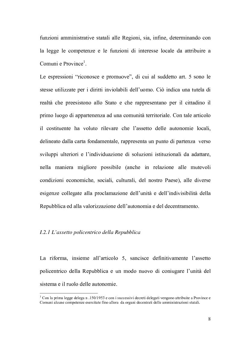 Anteprima della tesi: Il potere statutario degli enti locali alla luce delle novità introdotte dalla riforma del Titolo V della Costituzione., Pagina 6