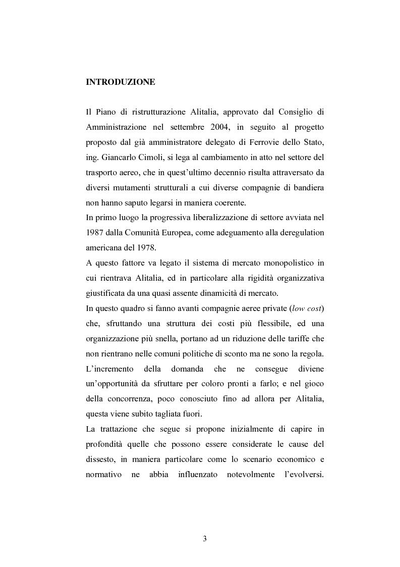 Anteprima della tesi: La ristrutturazione del Gruppo Alitalia, Pagina 1