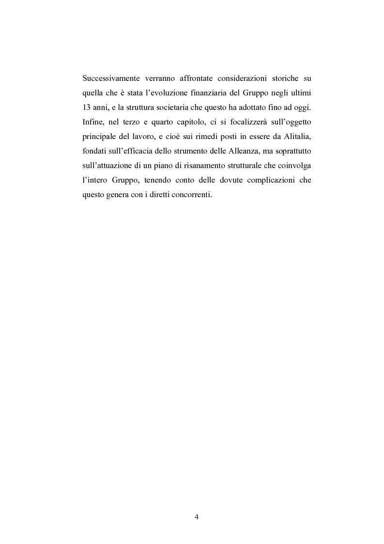 Anteprima della tesi: La ristrutturazione del Gruppo Alitalia, Pagina 2