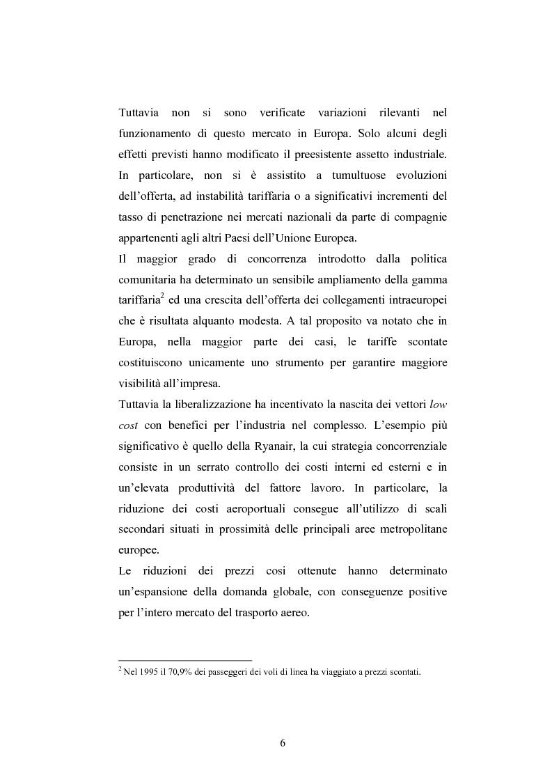 Anteprima della tesi: La ristrutturazione del Gruppo Alitalia, Pagina 4