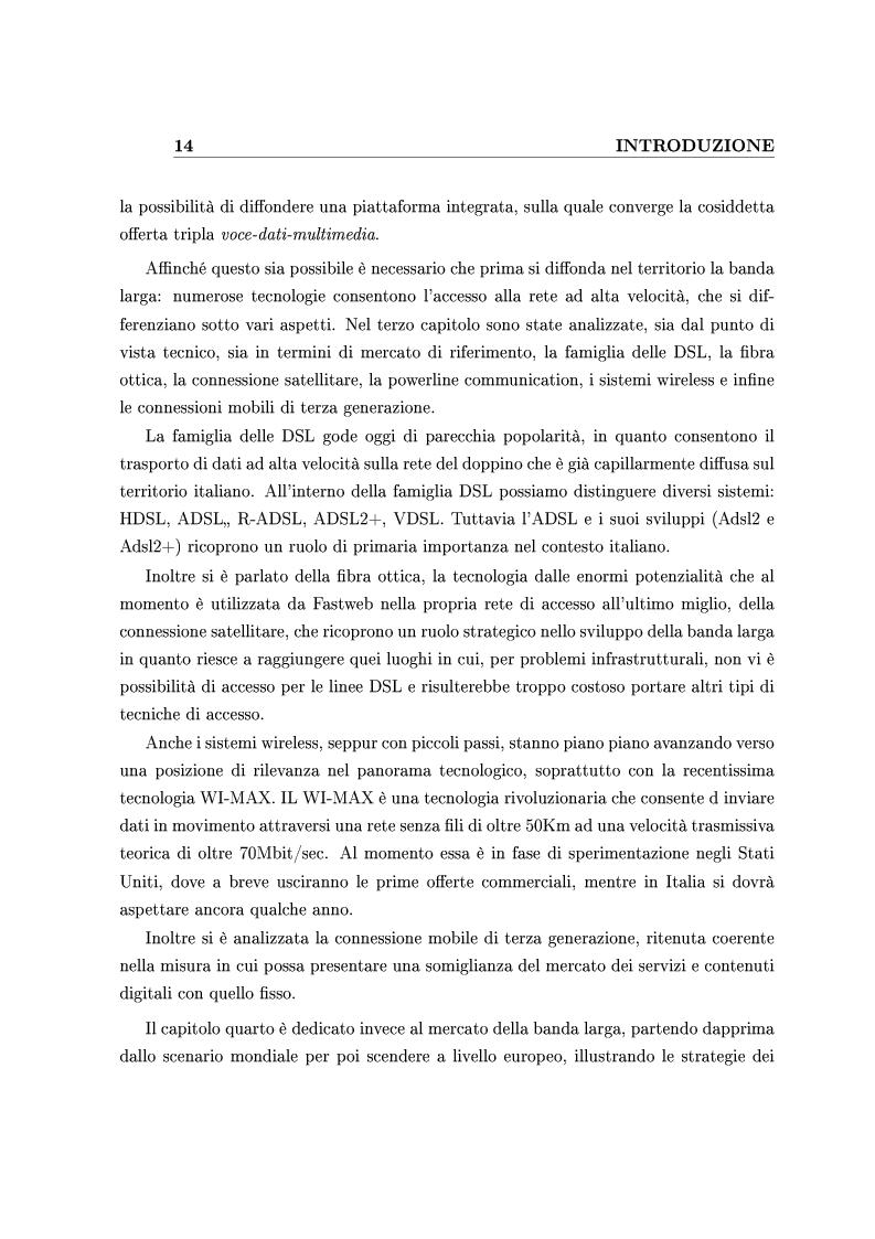 Anteprima della tesi: Le Strategie competitive degli ISP nel BroadBand nella fase di consolidamento del mercato. Un'analisi di scenario, Pagina 4