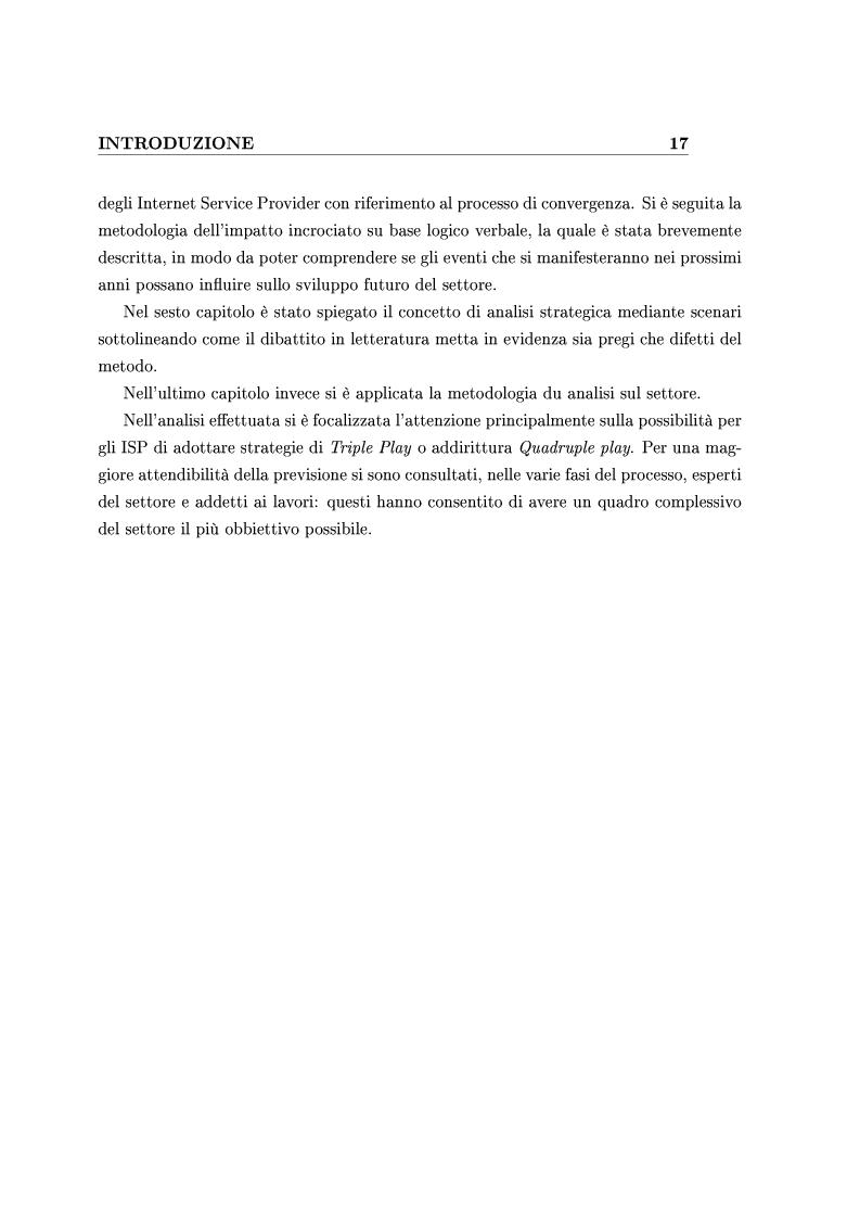 Anteprima della tesi: Le Strategie competitive degli ISP nel BroadBand nella fase di consolidamento del mercato. Un'analisi di scenario, Pagina 7