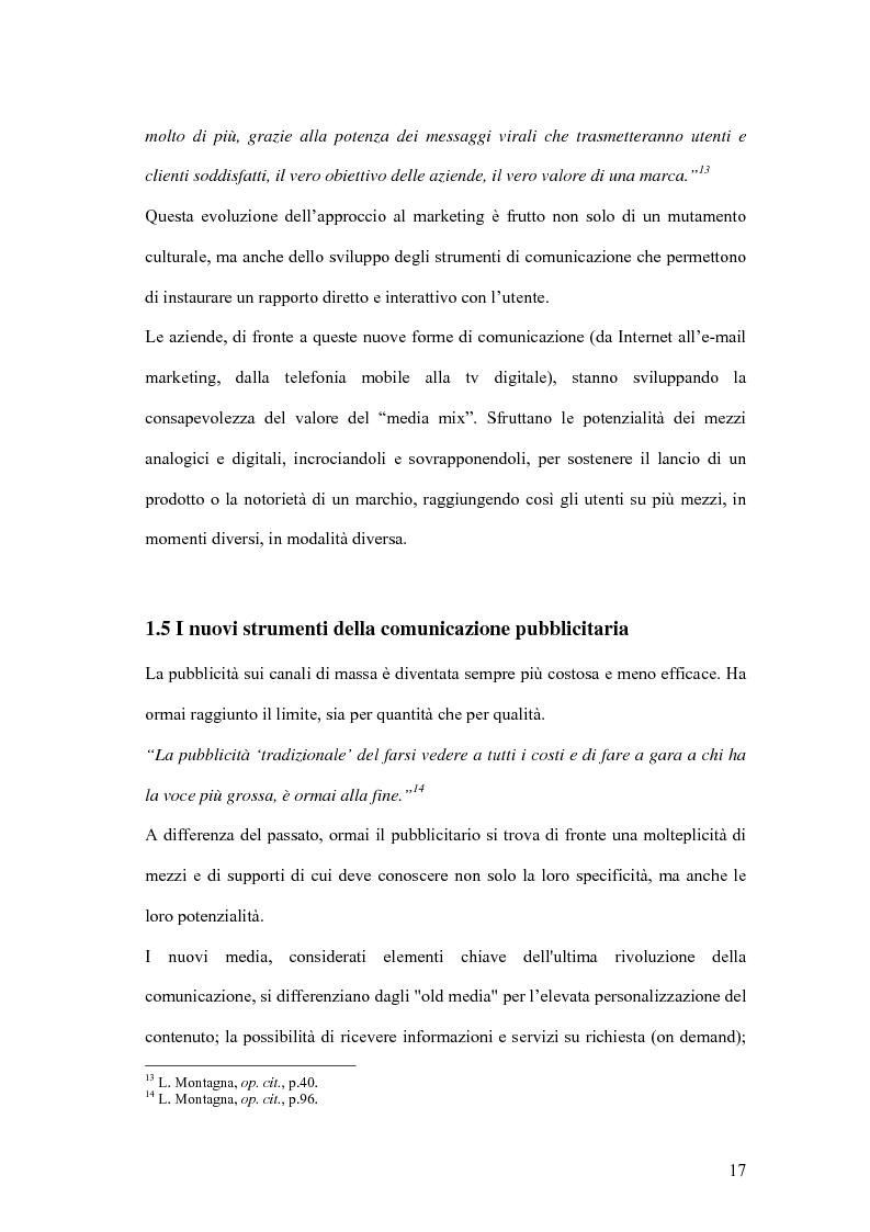 Anteprima della tesi: Nuove forme di comunicazione pubblicitaria su mezzi non tradizionali, Pagina 14