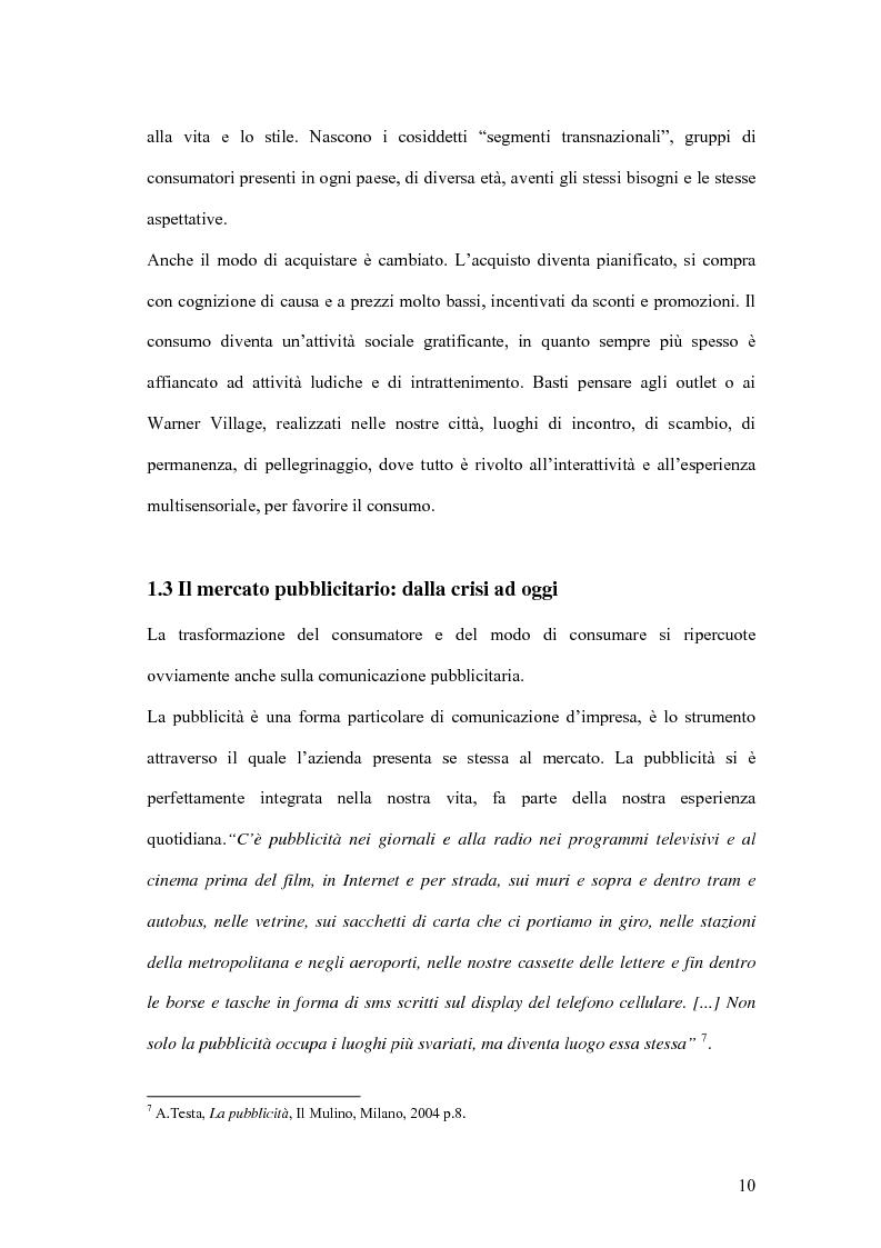 Anteprima della tesi: Nuove forme di comunicazione pubblicitaria su mezzi non tradizionali, Pagina 7