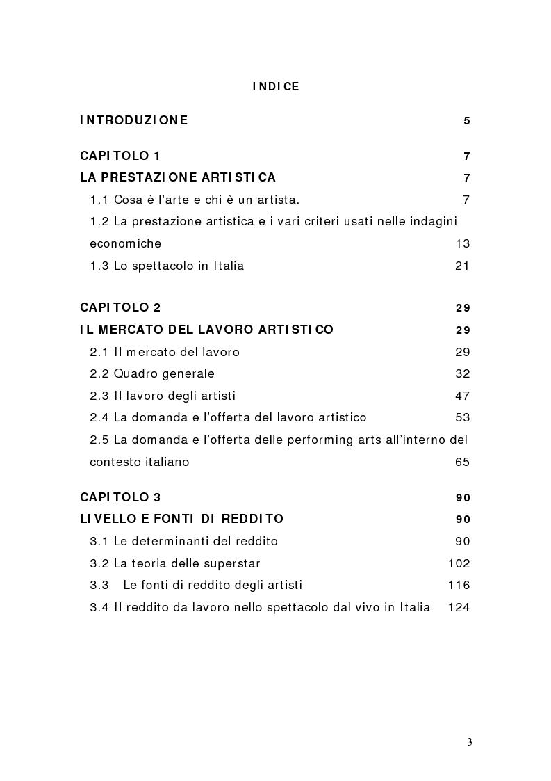 Indice della tesi: Artisti e mercati del lavoro: dinamiche occupazionali, Pagina 1