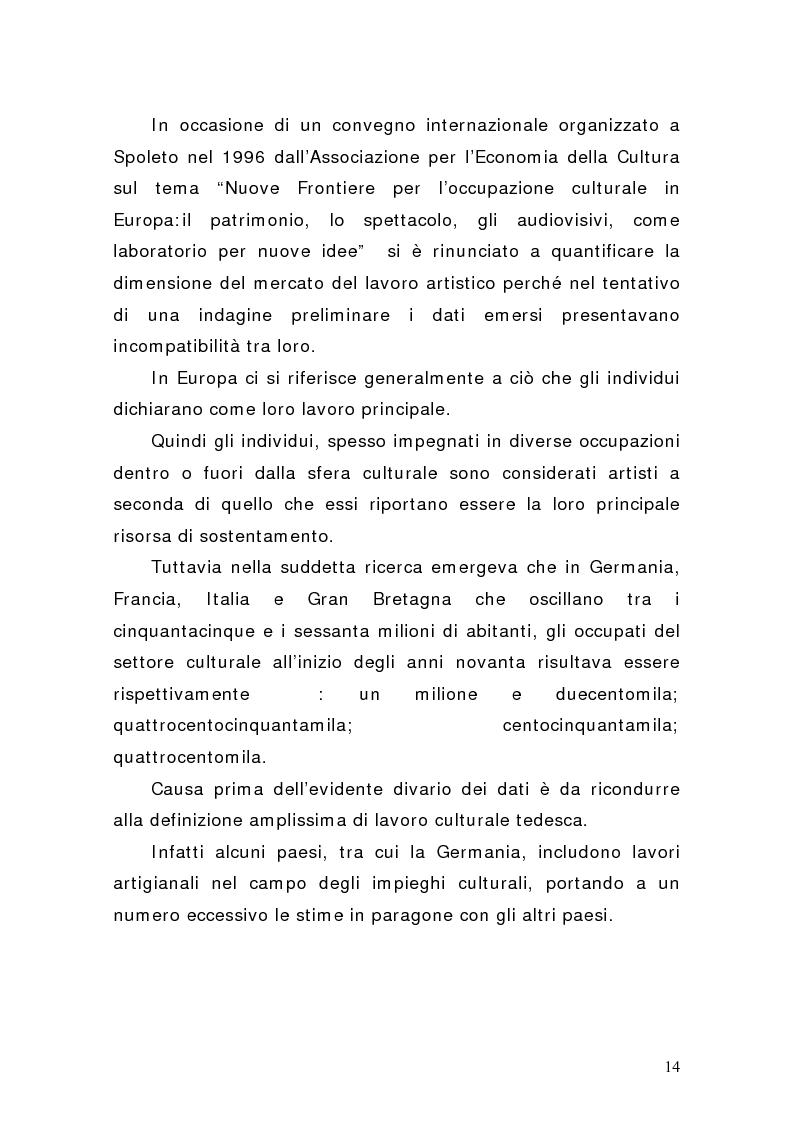 Anteprima della tesi: Artisti e mercati del lavoro: dinamiche occupazionali, Pagina 10