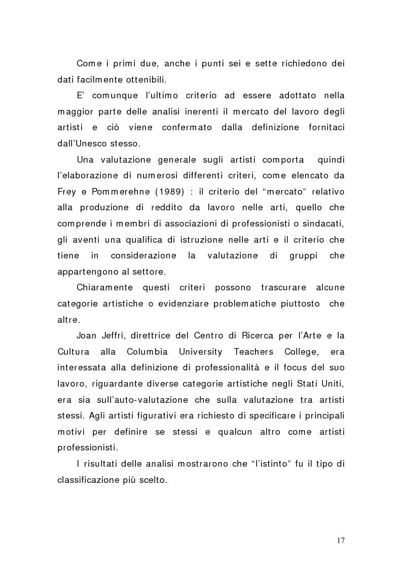 Anteprima della tesi: Artisti e mercati del lavoro: dinamiche occupazionali, Pagina 13