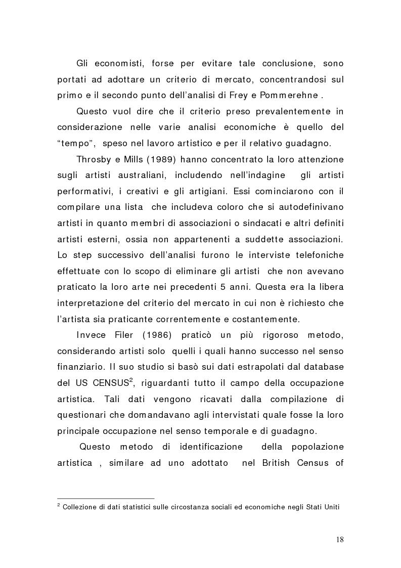 Anteprima della tesi: Artisti e mercati del lavoro: dinamiche occupazionali, Pagina 14