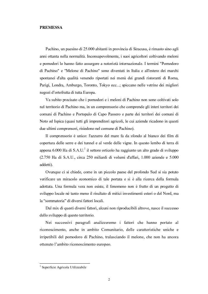 Anteprima della tesi: L'Indicazione Geografica Protetta ''Pomodoro di Pachino'', Pagina 1