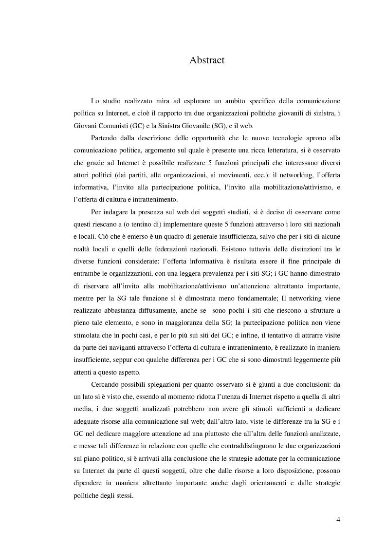 Anteprima della tesi: I giovani di sinistra online, Pagina 1