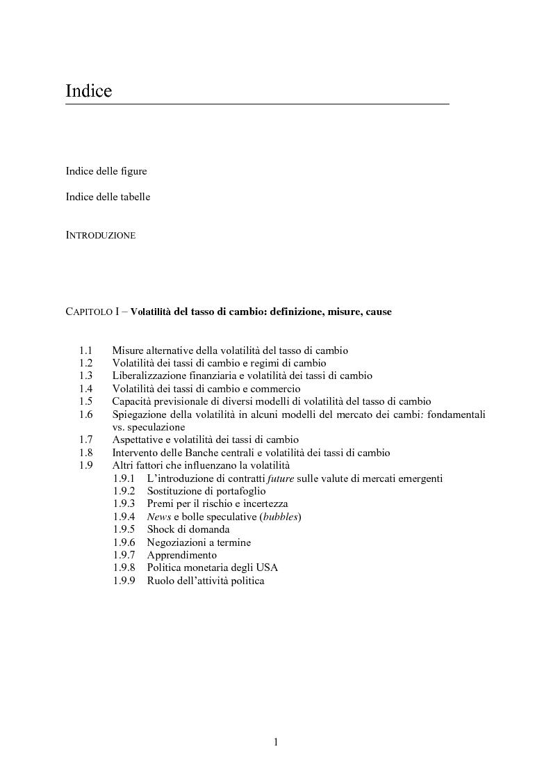 Indice della tesi: Volatilità dei tassi di cambio e regolamentazione dei movimenti internazionali di capitali, Pagina 1