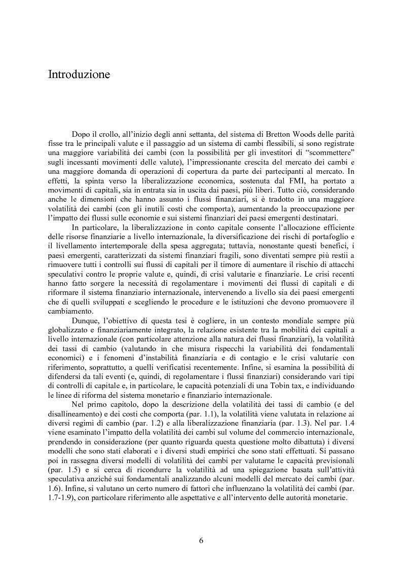 Anteprima della tesi: Volatilità dei tassi di cambio e regolamentazione dei movimenti internazionali di capitali, Pagina 1