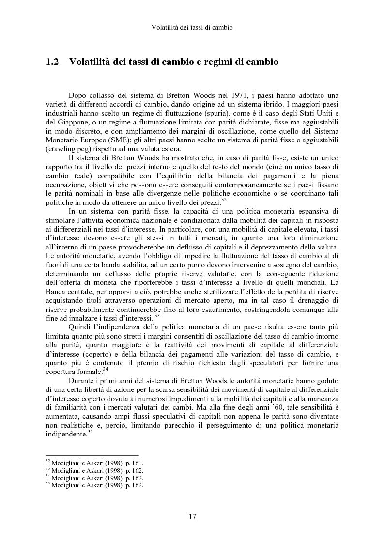 Anteprima della tesi: Volatilità dei tassi di cambio e regolamentazione dei movimenti internazionali di capitali, Pagina 12