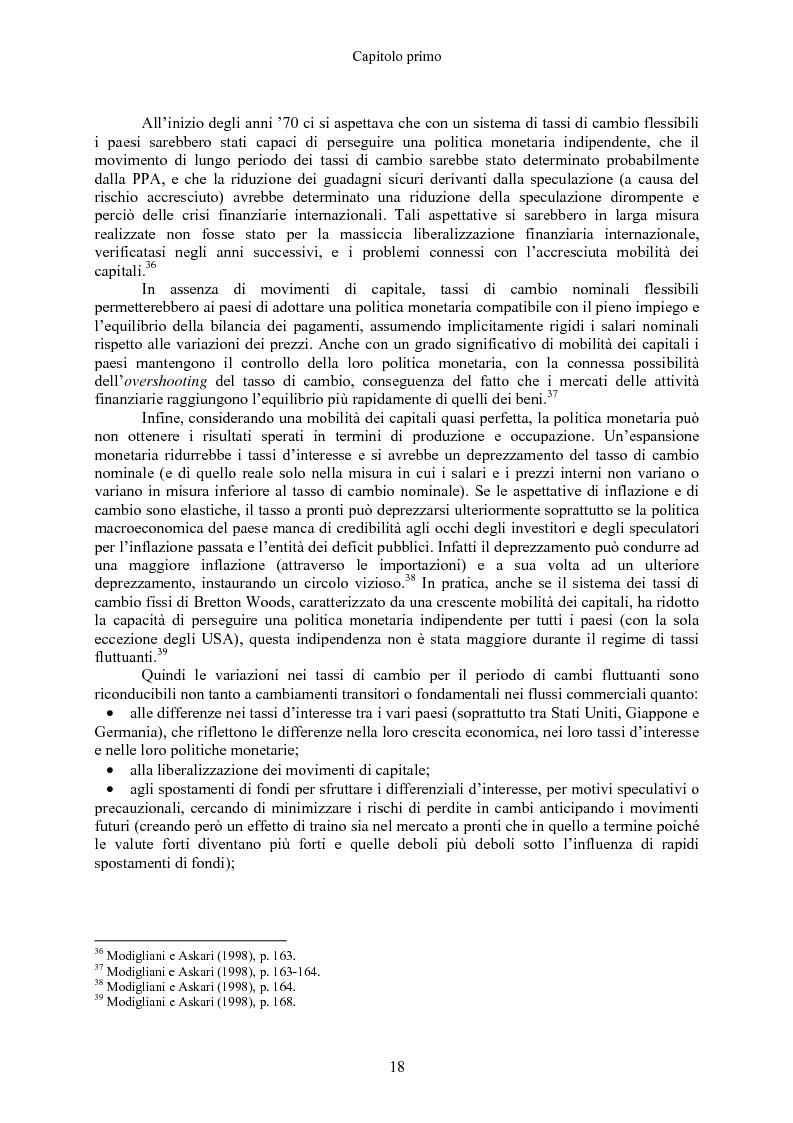 Anteprima della tesi: Volatilità dei tassi di cambio e regolamentazione dei movimenti internazionali di capitali, Pagina 13