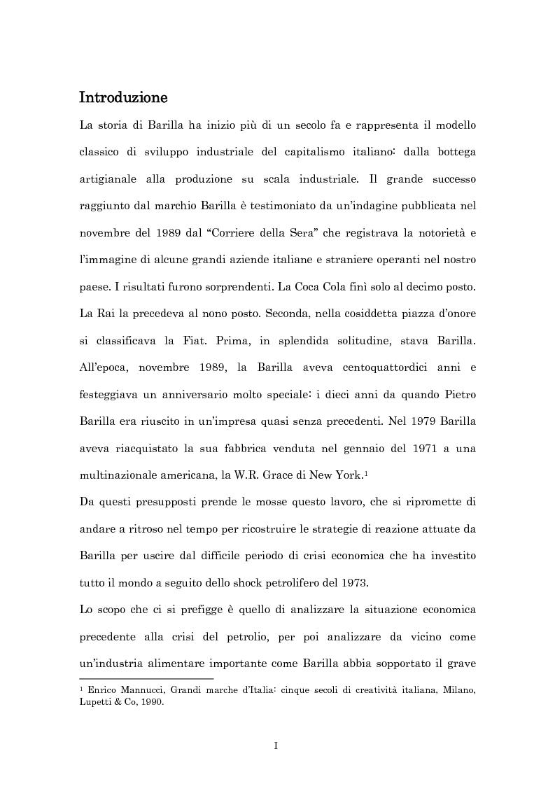 Anteprima della tesi: Crisi economica, strategie aziendali e comunicative: il caso Barilla (1973-1985), Pagina 1