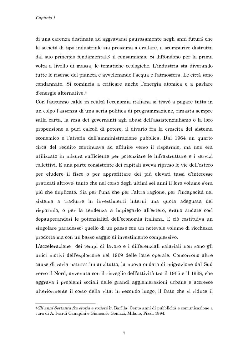 Anteprima della tesi: Crisi economica, strategie aziendali e comunicative: il caso Barilla (1973-1985), Pagina 10