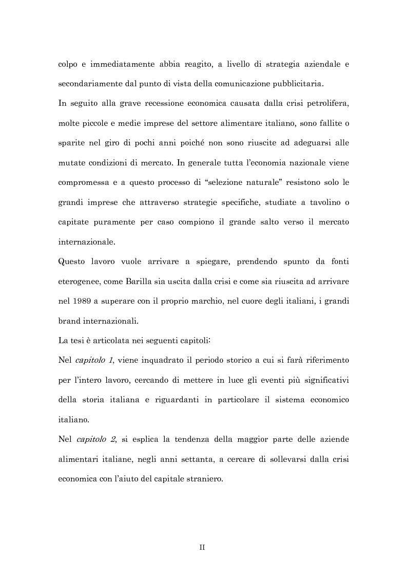Anteprima della tesi: Crisi economica, strategie aziendali e comunicative: il caso Barilla (1973-1985), Pagina 2