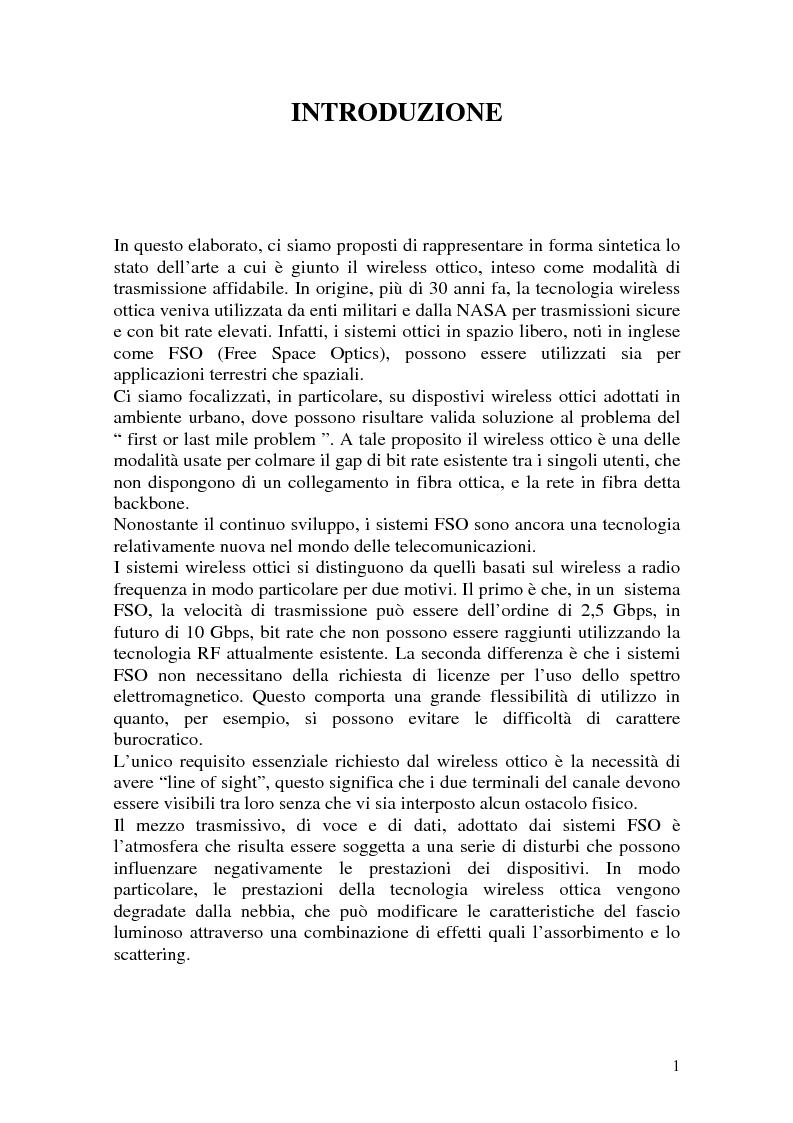 Anteprima della tesi: Apparati per Wireless Ottico, Pagina 1