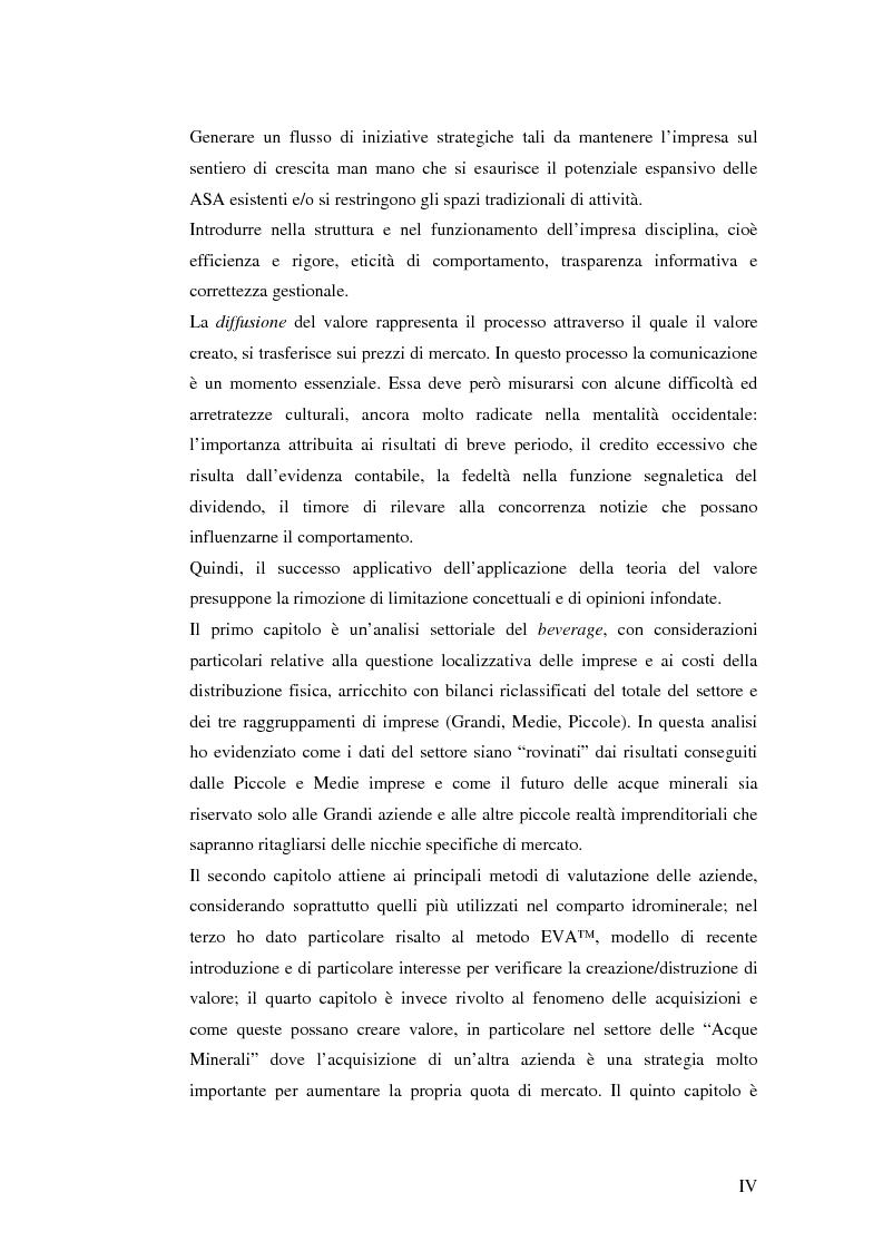 Anteprima della tesi: Creazione di Valore nel Settore delle Acque Minerali: il caso San Benedetto S.P.A., Pagina 4