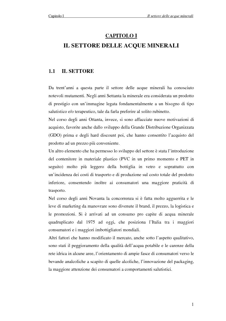 Anteprima della tesi: Creazione di Valore nel Settore delle Acque Minerali: il caso San Benedetto S.P.A., Pagina 6
