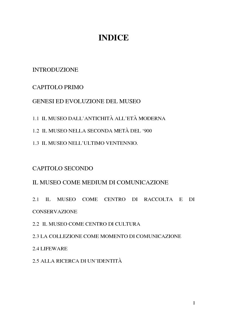 Indice della tesi: Il museo come spazio di comunicazione: El Museo Nacional Centro de Arte Reina Sofia di Madrid, Pagina 1
