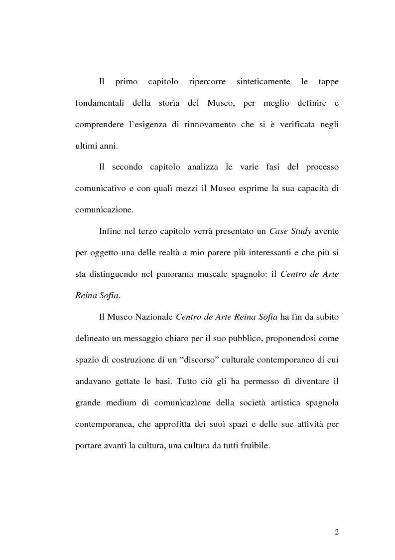 Anteprima della tesi: Il museo come spazio di comunicazione: El Museo Nacional Centro de Arte Reina Sofia di Madrid, Pagina 2