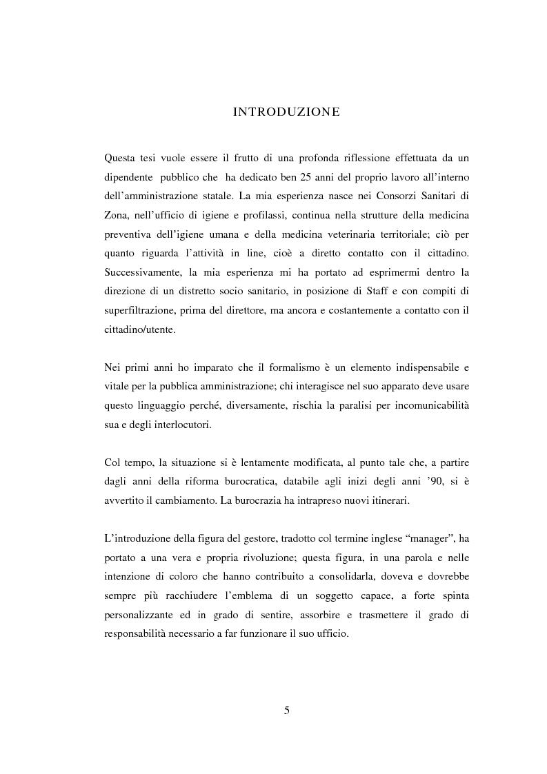 Anteprima della tesi: Semplificazione e partecipazione nella pubblica amministrazione. L'esperienza della A.S.L. di Cremona, Pagina 1