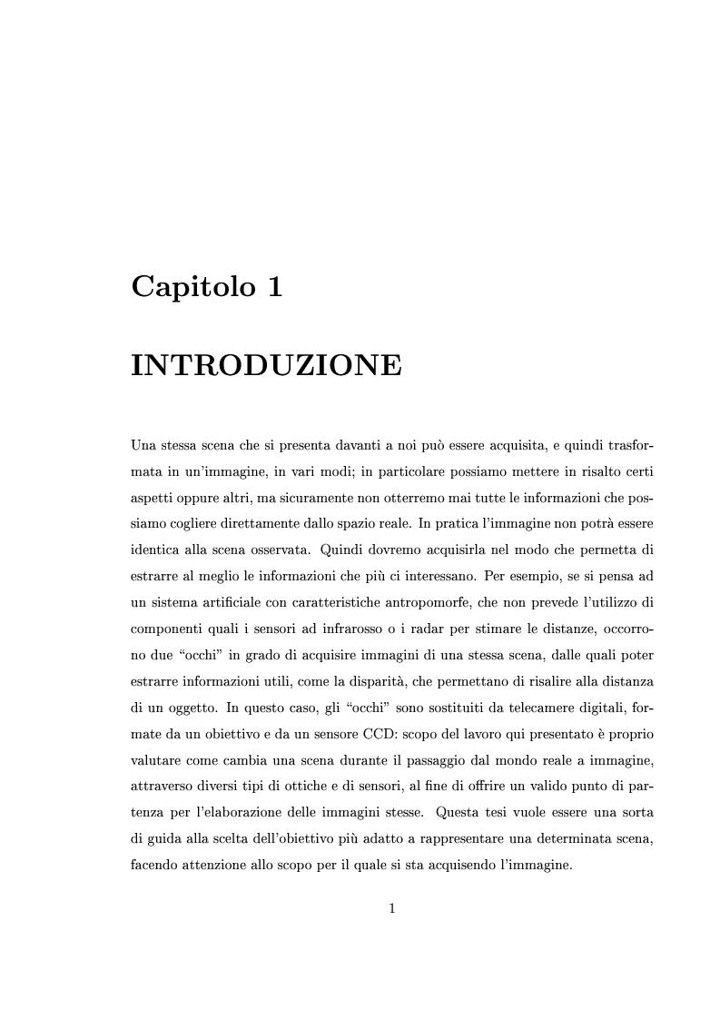 Anteprima della tesi: Interfaccia software per l'analisi e la verifica sperimentale delle componenti ottiche di sistemi di visione robotici, Pagina 1
