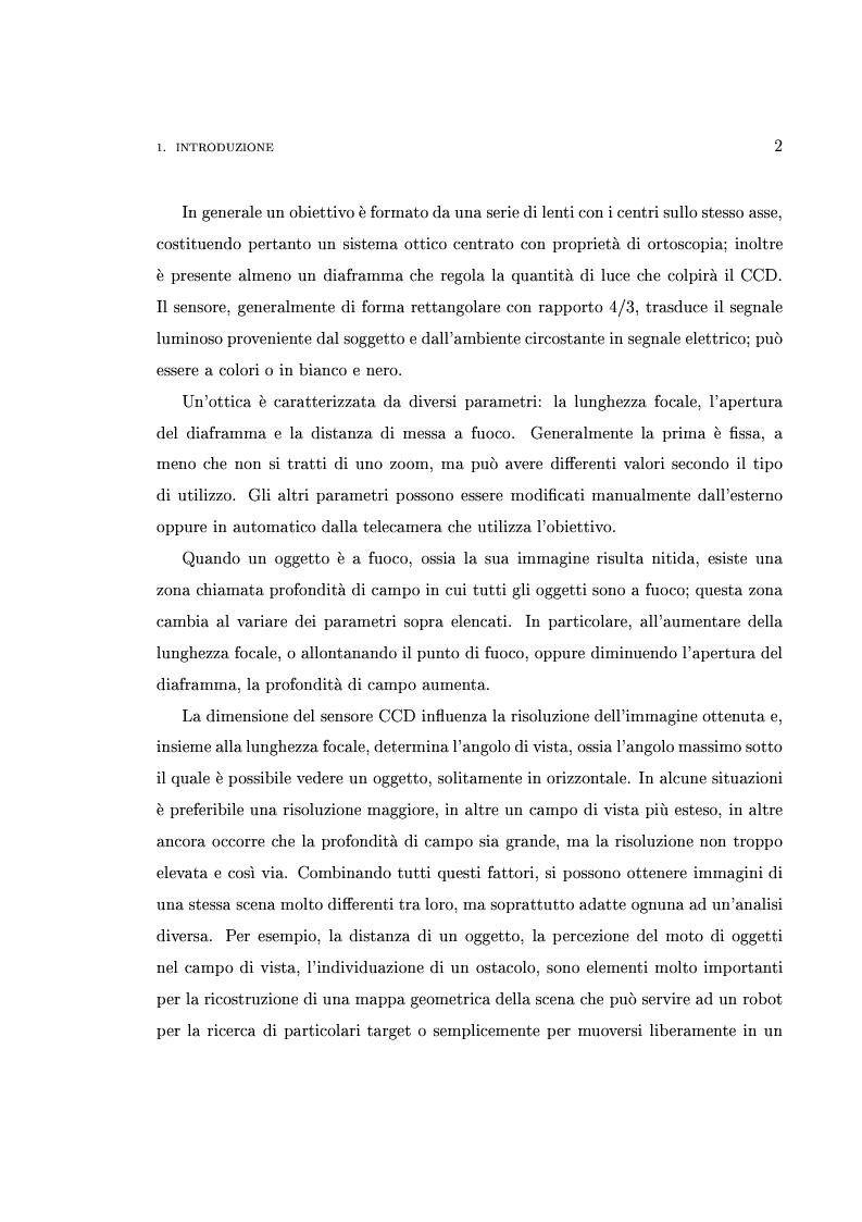 Anteprima della tesi: Interfaccia software per l'analisi e la verifica sperimentale delle componenti ottiche di sistemi di visione robotici, Pagina 2