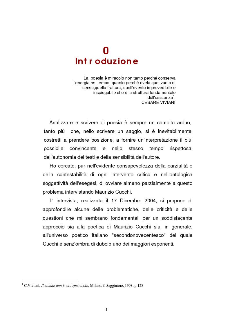 Anteprima della tesi: Sguardi e oggetti nell'opera di Maurizio Cucchi, Pagina 1