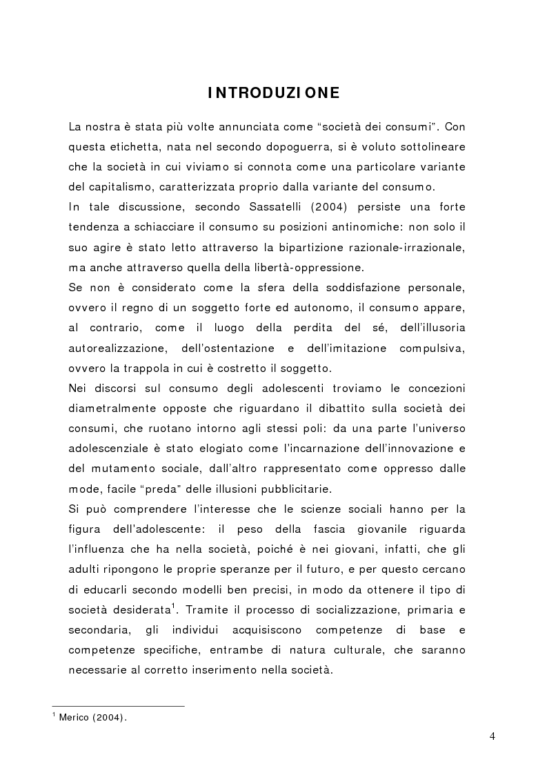 Anteprima della tesi: Tra conformismo e innovazione: il ruolo del consumo nella costruzione dell'identità negli adolescenti, Pagina 1