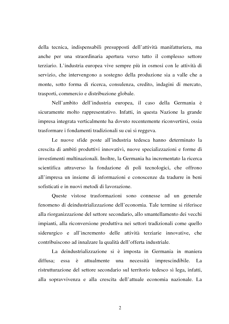 Anteprima della tesi: Il fenomeno della deindustrializzazione in Germania: ipotesi di riconversione funzionale a Duisburg e Düsseldorf, Pagina 2