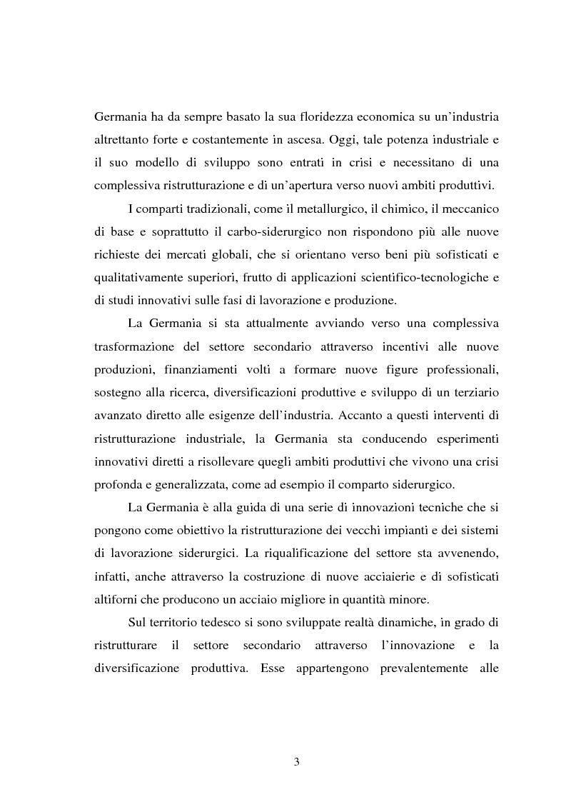 Anteprima della tesi: Il fenomeno della deindustrializzazione in Germania: ipotesi di riconversione funzionale a Duisburg e Düsseldorf, Pagina 3