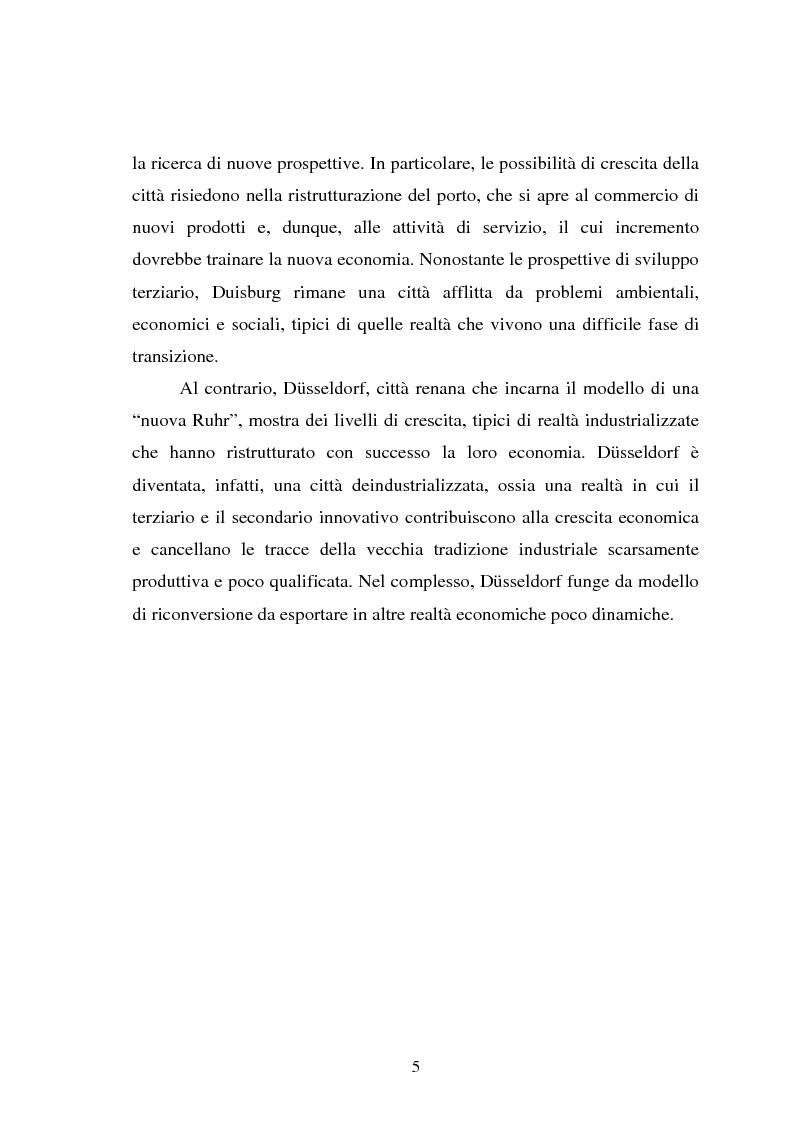 Anteprima della tesi: Il fenomeno della deindustrializzazione in Germania: ipotesi di riconversione funzionale a Duisburg e Düsseldorf, Pagina 5