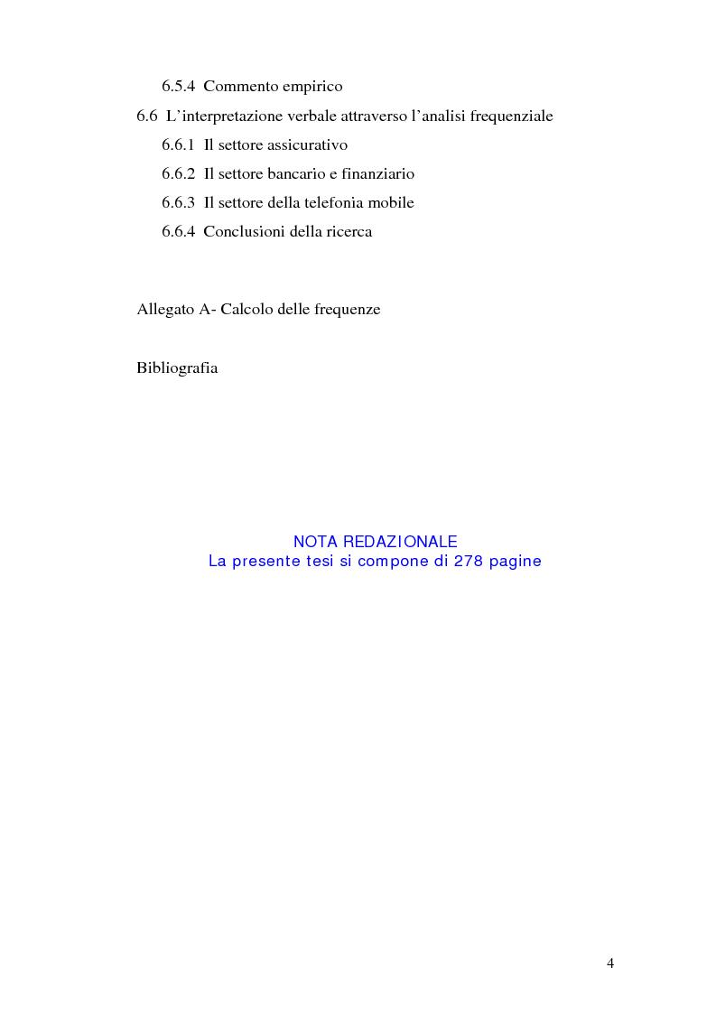 Indice della tesi: La comunicazione pubblicitaria delle imprese di servizi, Pagina 4