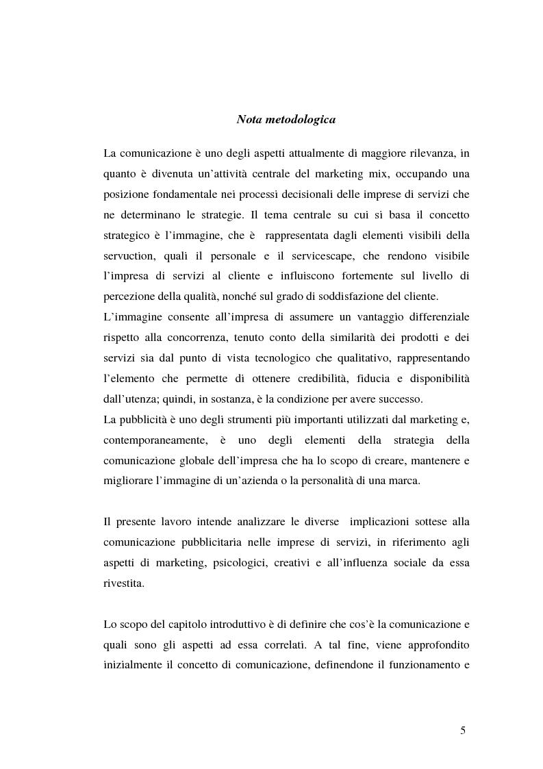 Anteprima della tesi: La comunicazione pubblicitaria delle imprese di servizi, Pagina 1