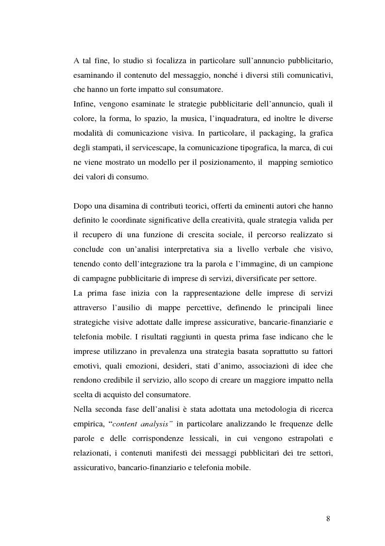 Anteprima della tesi: La comunicazione pubblicitaria delle imprese di servizi, Pagina 4