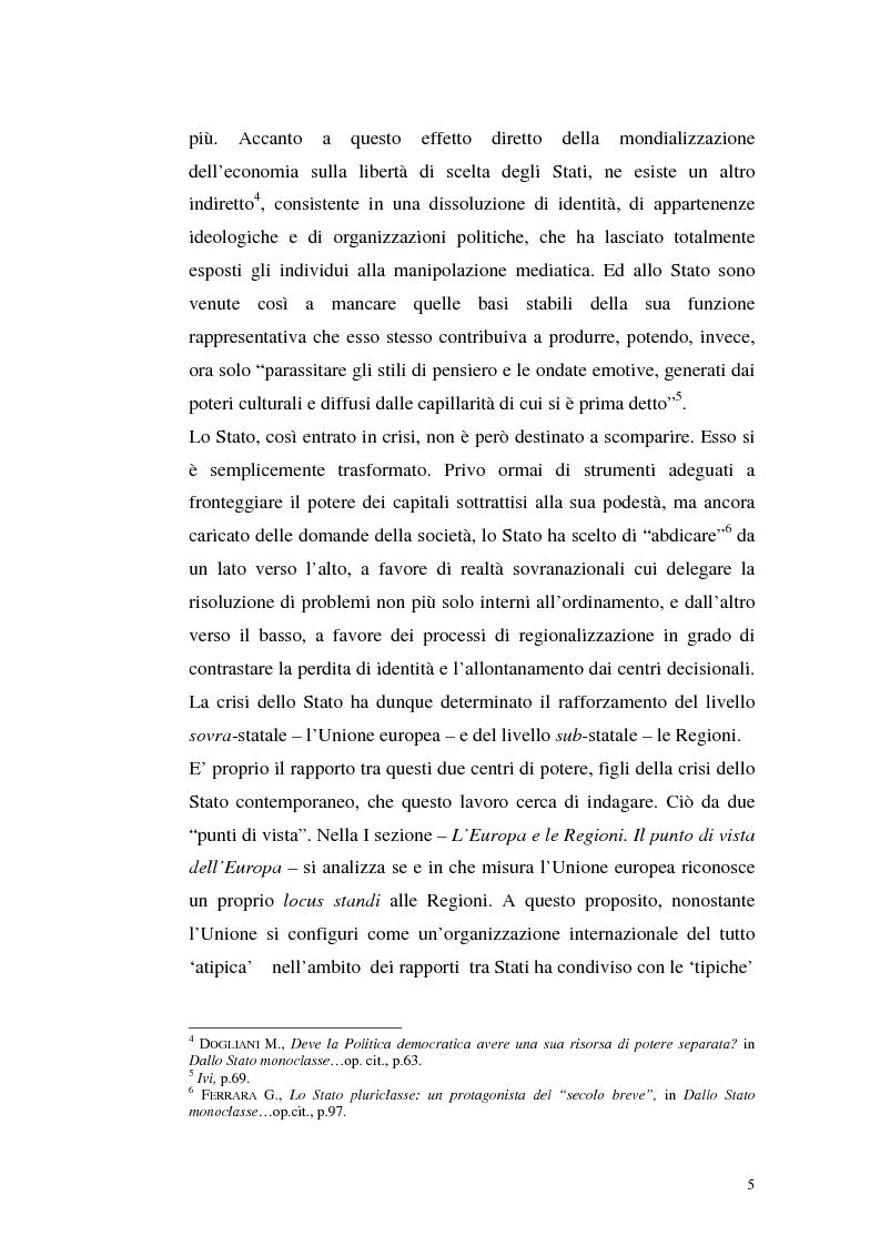 Anteprima della tesi: Il rapporto tra le Regioni e l'Unione europea, Pagina 2